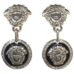 Gianni Versace Silver Medusa Drop Earrings