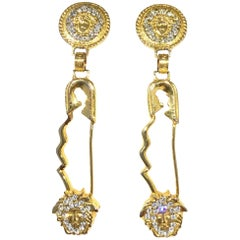 Gianni Versace Iconic XL Safety Pin Medusa Drop Earrings