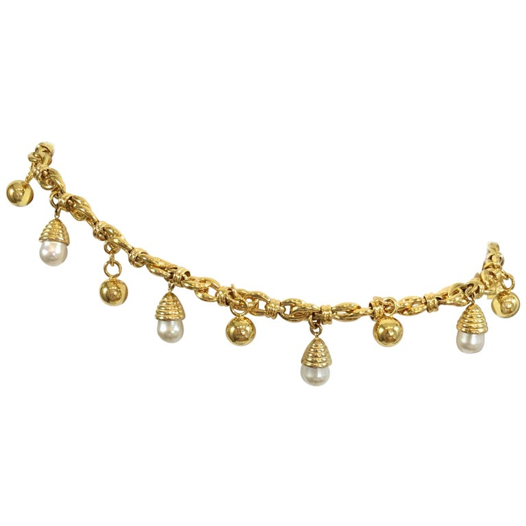Judith Leiber Pearl & Gold Chain Belt