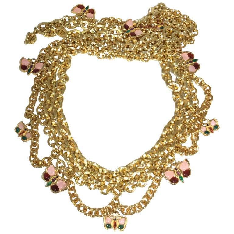 Judith Leiber Chain Belt with Butterflies XL