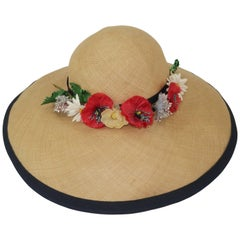 C.1950 Christine Original Straw Garden Party Wide Brimmed Hat