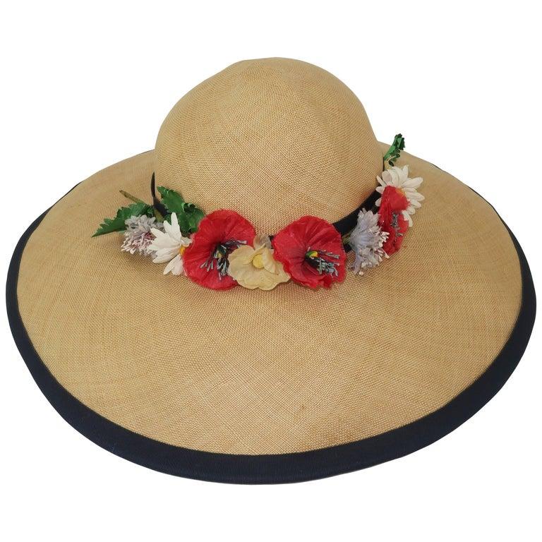 C.1950 Christine Original Straw Garden Party Wide Brimmed Hat For Sale
