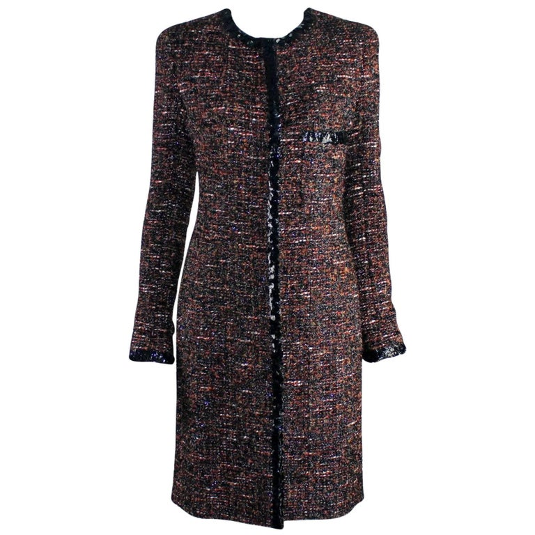 Chanel Metallic Lesage Fantasy Tweed Sequin Trimmed Coat