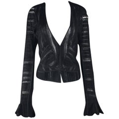 Yves Saint Laurent YSL by Tom Ford 2002 Black Tulle Silk Layer Jacket Top