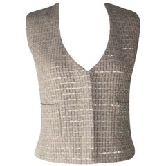 Chanel Lesage Tweed Sequin Gilet Vest Jacket