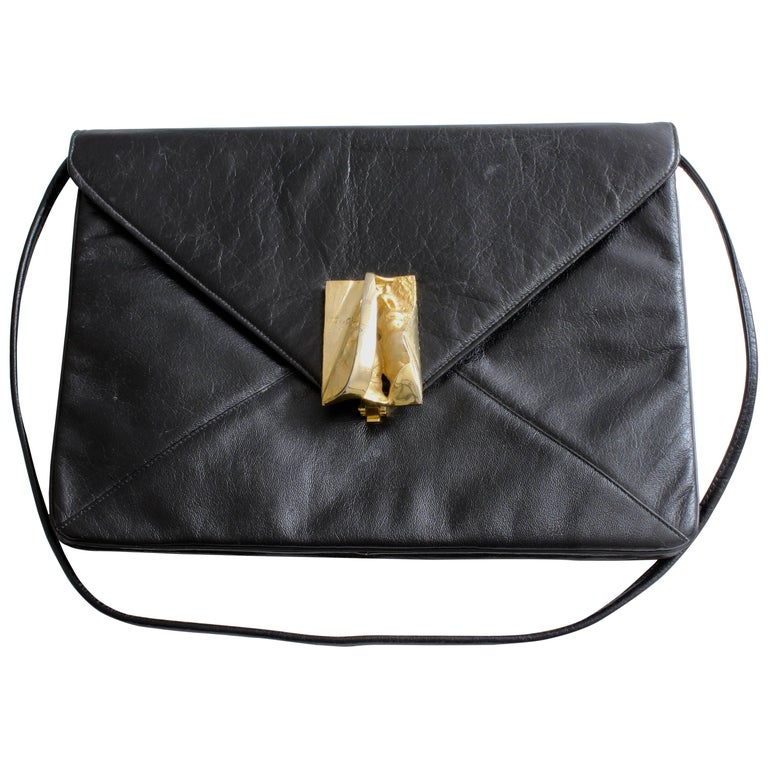 Rosenfeld Black Leather Envelope Clutch/Shoulder Bag with Abstract Clasp, 1960s