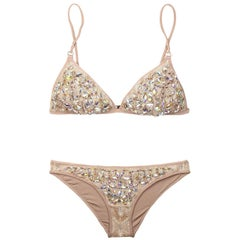 Missoni Crochet Knit Golden Lurex Swarovski Crystal Bikini