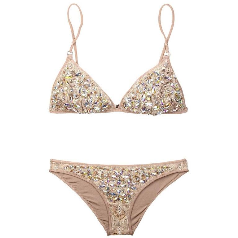 e72aedcca35f7 Missoni Crochet Knit Golden Lurex Swarovski Crystal Bikini at 1stdibs