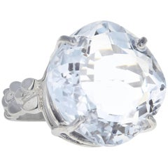 22 Carat White Quartz Sterling Silver Ring
