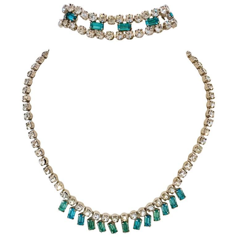 60'S Silver & Blue Sapphire Swarovski Crystal Rhineston Parure S/2 By, J Wiesner For Sale