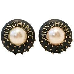 Moschino Gold Plate Faux Pearl & Enamal Stud Logo Earrings