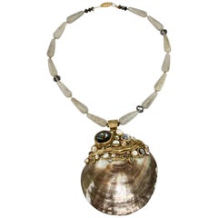Ella K Jewelry One of a Kind Grey Mother of Pearl and Venetian Glass Necklace