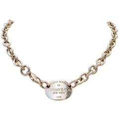 "TIffany & Co. Sterling Silver 925 ""Dog Tag"" Choker Necklace"
