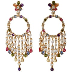 Ultima Edizione Vermeil and Zircon Chandelier Clip Earrings