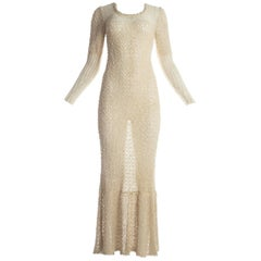 Hand loomed Irish linen summer maxi dress, c. 1970