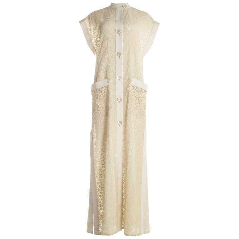 Pirovano Italian couture ivory lace and linen summer shirt dress, c. 1960s