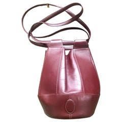 Vintage Cartier wine tulip 3 dimension hobo bucket shoulder bag. must de Cartier