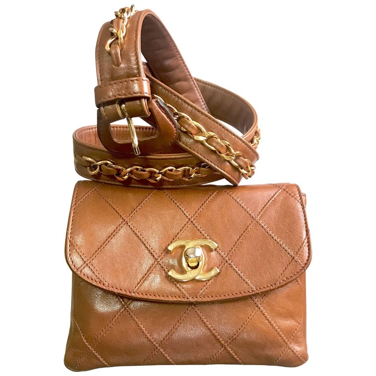 Chanel Vintage brown belt bag fanny pack hip bag with gold CC motif and chains