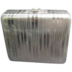 Saks Fifth Avenue Italian Silver Metal Minaudiere' Evening Bag c 1970s