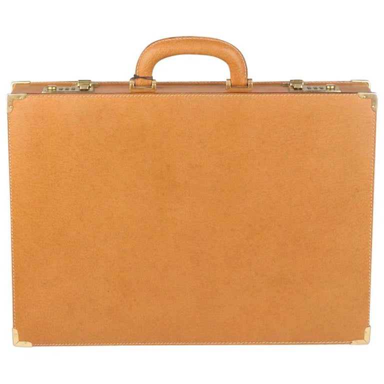 GUCCI VINTAGE Tan Leather Hard Side Briefcase Work Bag