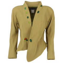 1980s Thierry Mugler Green Beaded Vintage Jacket