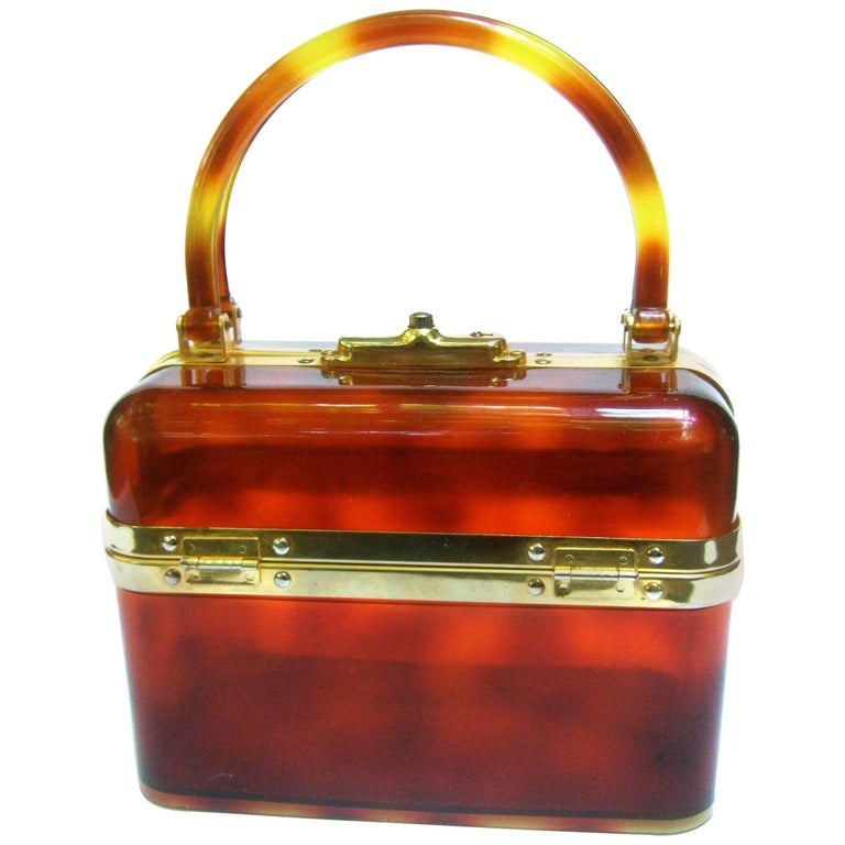 1970s Sleek French Tortoise Shell Lucite Box Purse
