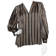 Yves Saint Laurent Vintage Black Silk Blouse with Gold Stripes, 1980s