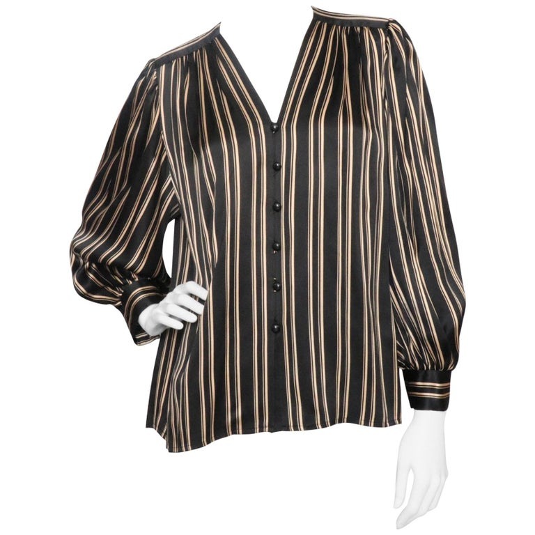 40187925 Yves Saint Laurent Vintage Black Silk Blouse with Gold Stripes, 1980s For  Sale