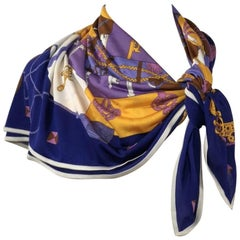 Hermes 100% Silk Jersey Knit Scarf Tours De Cles in Purple