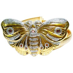 Judith Leiber Exquisite Massive Jeweled Butterfly Belt circa 1980s