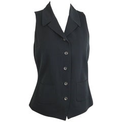 Jil Sander Black Viscose and Wool Notch Lapel Vest