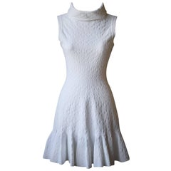 Azzedine Alaia White Patterned Roll-Neck Dress