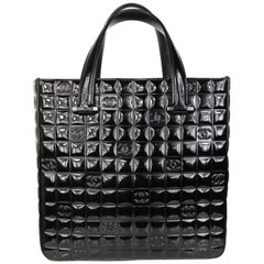 "Chanel Black Patent Leather Check ""CC"" Handbag"