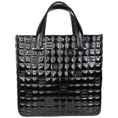 "Chanel Black Patent Leather Check ""CC"" Handbag"