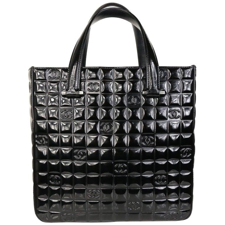 "Chanel Black Patent Leather Check ""CC"" Handbag For Sale"