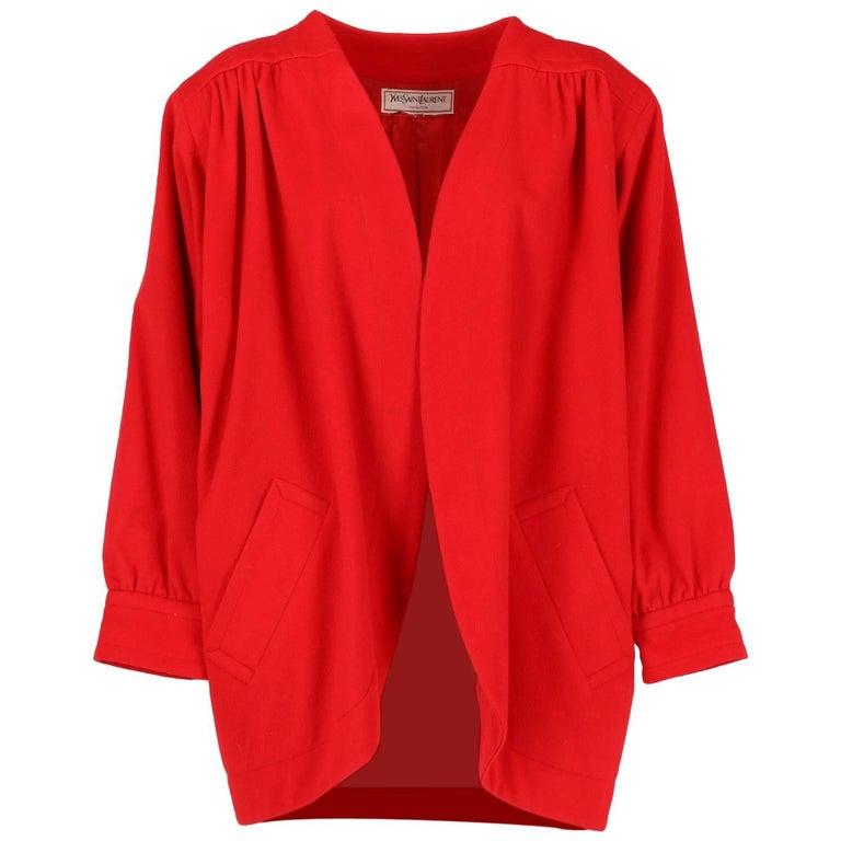 1980s Yves Saint Laurent Red Wool Vintage Jacket For Sale