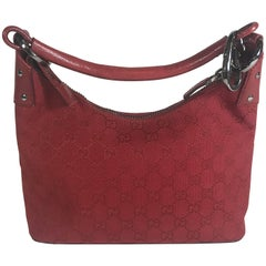 Gucci Small Red Canvas GG Hobo