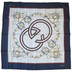 Gucci Silk Scarf  Iconic Double GG Equestrain Horsebit New, Never Worn