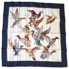 Gucci Silk Scarf Mallards Ducks Birds in Flight New, Never Worn 1990s