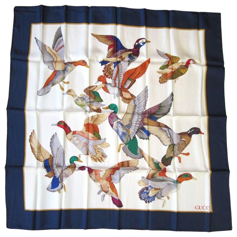 Gucci Silk Scarf Mallards Ducks Birds in Flight New, Never Worn 1990s