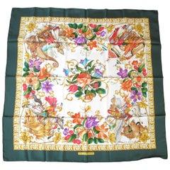 "Gucci Silk "" Le Leggende"" Floral Green Border New, Never Worn 1990s"