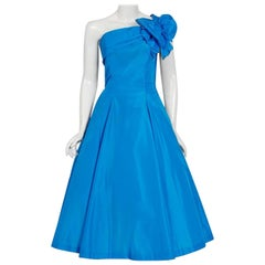 Royal Blue Taffeta One-Shoulder Asymmetric Bow Circle Skirt Party Dress, 1950s