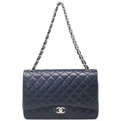 Chanel Navy Blue Caviar Maxi Double Flap Handbag No. 18 SHW
