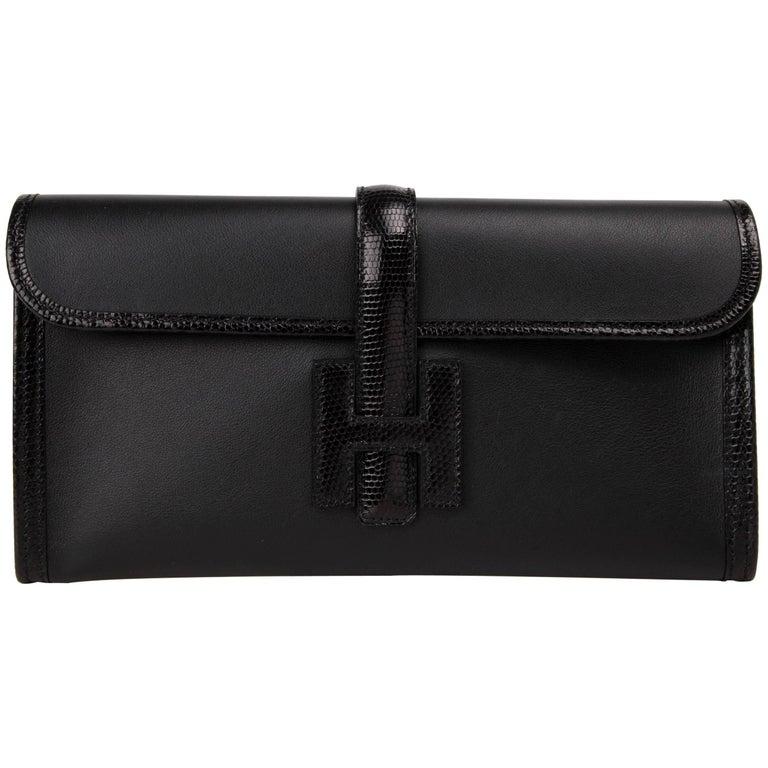Hermes Jige Elan Bag Black Swift w/ Lizard Clutch New