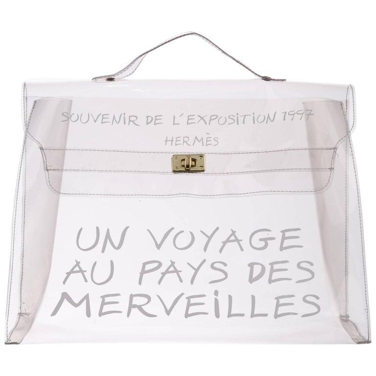Hermes Kelly Clear See-Through Carryall Travel Top Handle Satchel Tote Bag