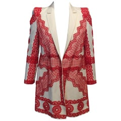 Givenchy Ivory Cotton Jacket with Deep Coral Lace Stitching