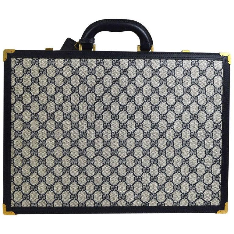 Gucci GG Monogram Blue Top Handle Satchel Men's Women's Business Briefcase Bag
