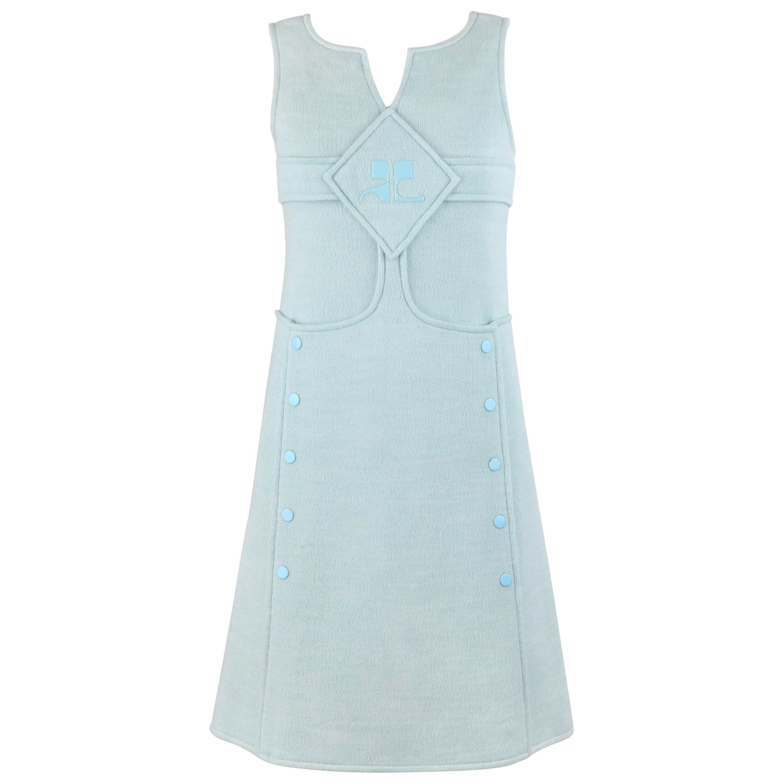 COURREGES Hyperbole c.1970s Sky Blue Wool Sleeveless Siganture Logo A-Line Dress