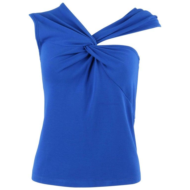MISSONI Blue Knit Sleeveless Asymmetrical Twist Top