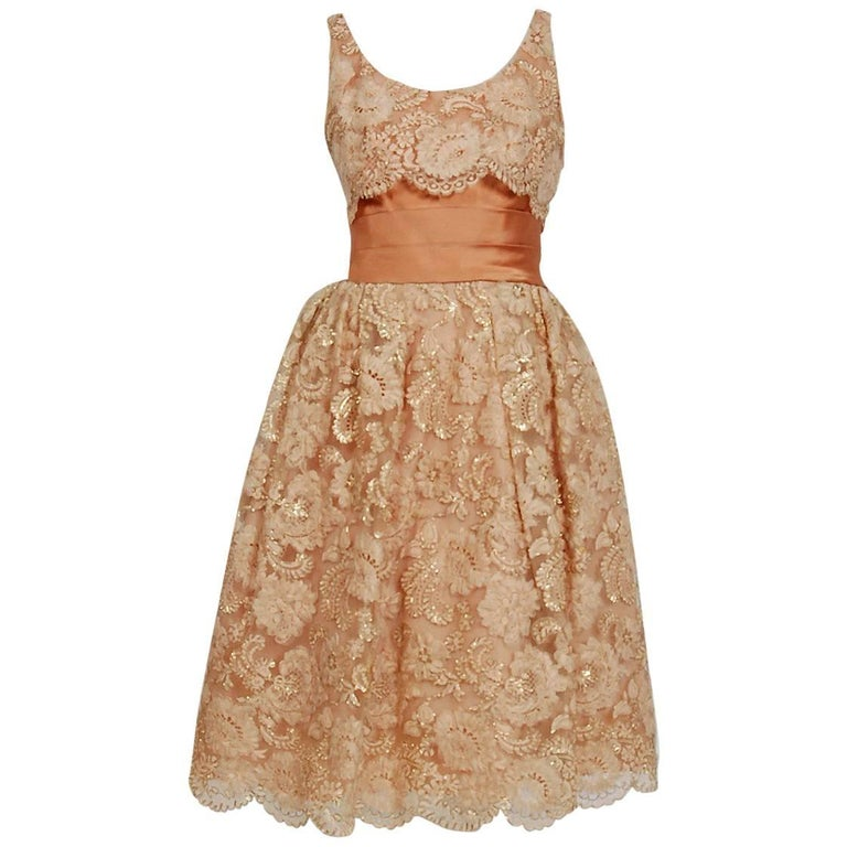 1950's Rudolf Couture Metallic Peach Lace and Satin Scalloped Full Party Dress For Sale